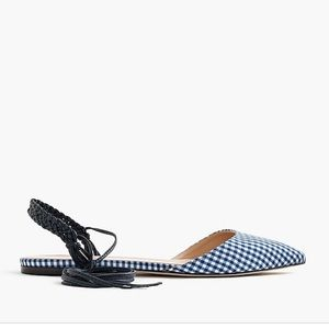 J.Crew Pointy Toe Gingham Lace Up Flats 10 f1189